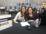 Sydney Lloyd and Chantal Cohen, Ontario Laundry Systems team. Working hard at the front desk