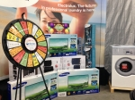 Ready to spin! The prize wheel at Ontario Laundry Systems recent show.