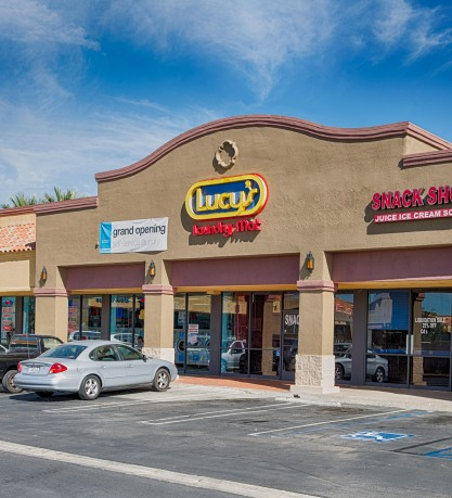Great parking at Electrolux equipped Lucy's Laundromat in Palmdale, California