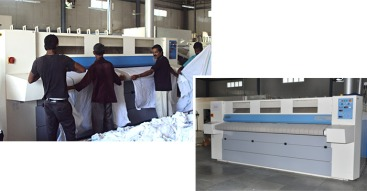 Electrolux Professional laundry equipment (C Flex Ironers shown above) installed at Orion Ventures for Indian Railways Laundry.